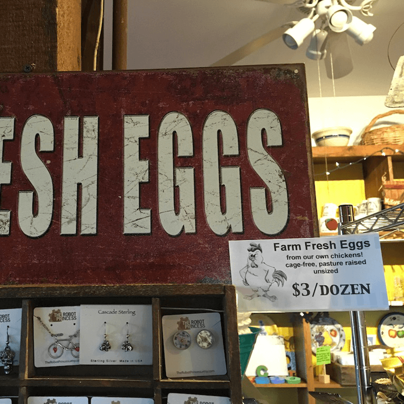The Hungry Chicken Country Store Farm Fresh Eggs.